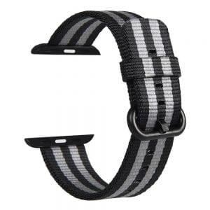 Nylon bandje voor de Apple Watch Black Gray-006