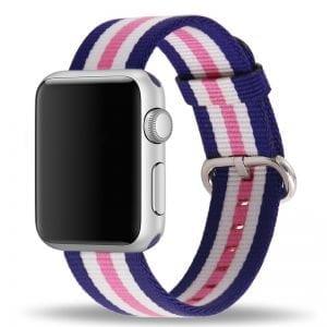 Nylon bandje voor de Apple Watch Roze Blauw-005