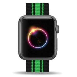Nylon bandje voor de Apple Watch Zwart Groen-002