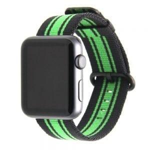 Nylon bandje voor de Apple Watch Zwart Groen-007