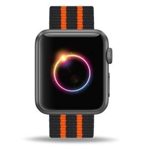 Nylon bandje voor de Apple Watch Zwart Oranje-003