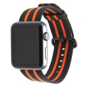 Nylon bandje voor de Apple Watch Zwart Oranje-008