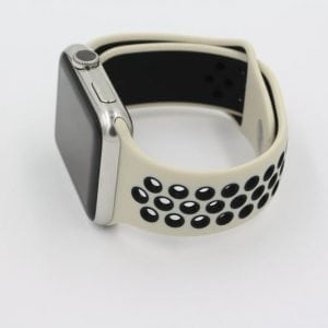 Rubberen sport bandje voor de Apple Watch Offwhite Zwart-003