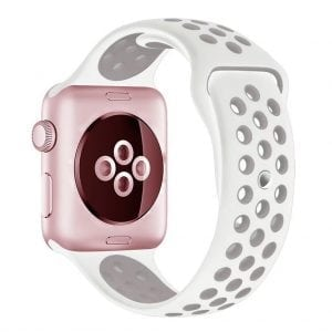 Rubberen sport bandje voor de Apple Watch Wit Lavendel-001
