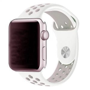 Rubberen sport bandje voor de Apple Watch Wit Lavendel-003