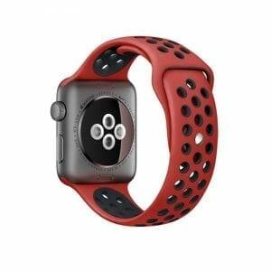 sport bandje voor de Apple Watch - Rood Zwart-009
