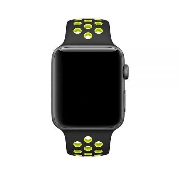 sport bandje voor de Apple Watch-Zwart-Geel-001