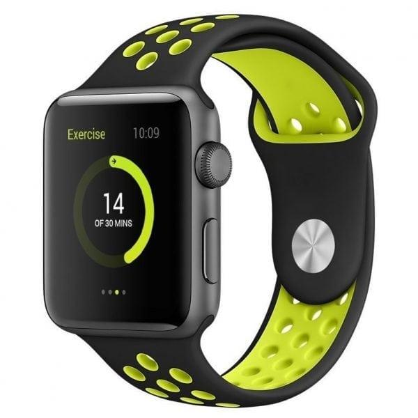 sport bandje voor de Apple Watch-Zwart-Geel-002