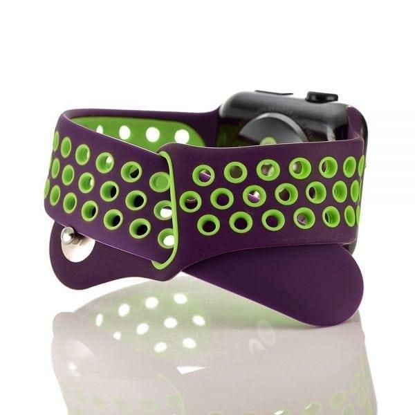 sport bandje voor de Apple Watch-paars-groen-001