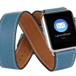 Double strap leer blauw bandje voor de Apple Watch -006