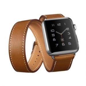 Double strap leer bruin bandje voor de Apple Watch-001