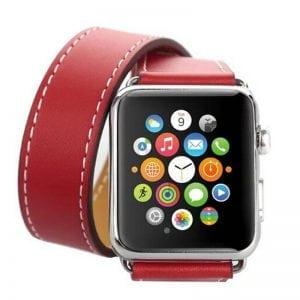 Double strap leer rood bandje voor de Apple Watch-008