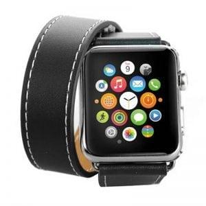 Double strap leer zwart bandje voor de Apple Watch-006