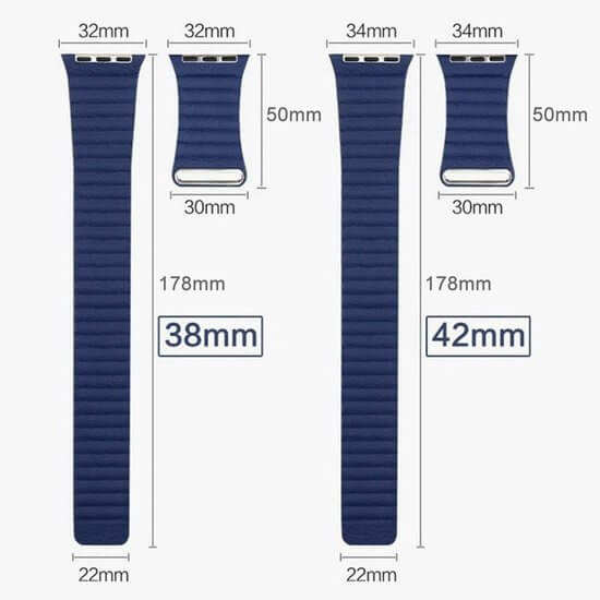 PU leather loop bandje voor de Apple watch 42mm bandje - blauw-003