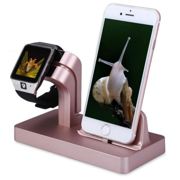 2 in 1 Apple Watch Standaard rose goud-004