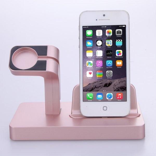 2 in 1 Apple Watch Standaard rose goud-005