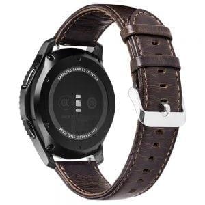 Retro Leren Bandje Voor de Samsung Gear S3 Galaxy watch 46mm SM-R800 - Leren Armband / Polsband / Strap Band / donker Bruin