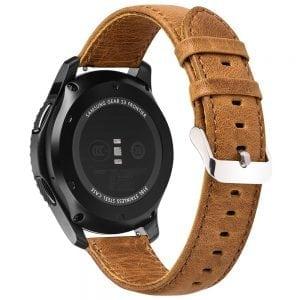 Retro Leren Bandje Voor de Samsung Gear S3 Galaxy watch 46mm SM-R800 - Leren Armband / Polsband / Strap Band / Licht Bruin