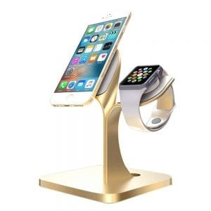 2 in 1 Aluminium Nano Micro Suction Cradle Apple Watch Standaard goud-005