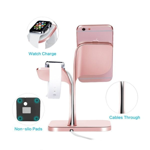 2 in 1 Aluminium Nano Micro Suction Cradle Apple Watch Standaard rose goud-002