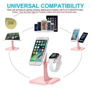 2 in 1 Aluminium Nano Micro Suction Cradle Apple Watch Standaard rose goud-003