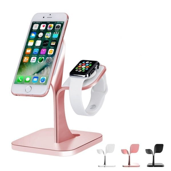 2 in 1 Aluminium Nano Micro Suction Cradle Apple Watch Standaard rose goud-005-