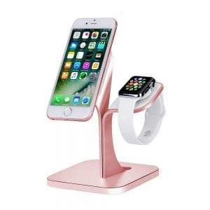2 in 1 Aluminium Nano Micro Suction Cradle Apple Watch Standaard rose goud-010