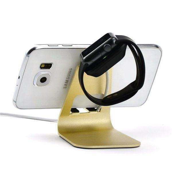 2 in 1 Apple watch stand hoog - goud kleurig-004