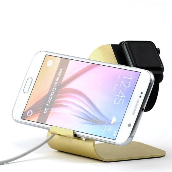 2 in 1 Apple watch stand hoog - goud kleurig-007