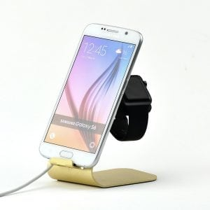 2 in 1 Apple watch stand hoog - goud kleurig-010