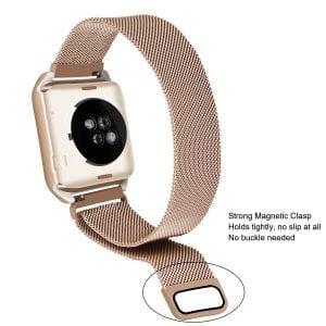 2 in 1 vervangend Apple Watch Band Milanese Loop goud en cover roestvrij staal vervangende band-001