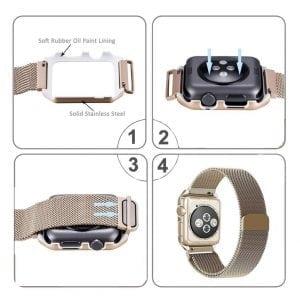 2 in 1 vervangend Apple Watch Band Milanese Loop goud en cover roestvrij staal vervangende band-004
