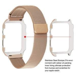 2 in 1 vervangend Apple Watch Band Milanese Loop goud en cover roestvrij staal vervangende band-005