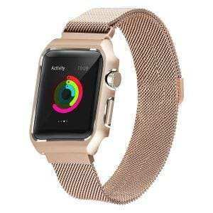 2 in 1 vervangend Apple Watch Band Milanese Loop goud en cover roestvrij staal vervangende band-006