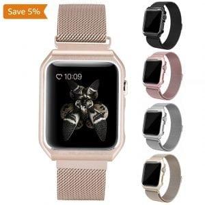 2 in 1 vervangend Apple Watch Band Milanese Loop goud en cover roestvrij staal vervangende band-007