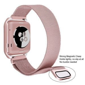 2 in 1 vervangend Apple Watch Band Milanese Loop rose rose goud en cover-005