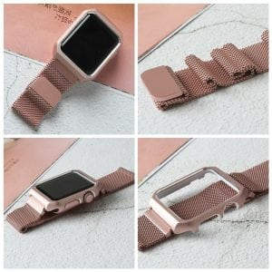 2 in 1 vervangend Apple Watch Band Milanese Loop rose rose goud en cover-006