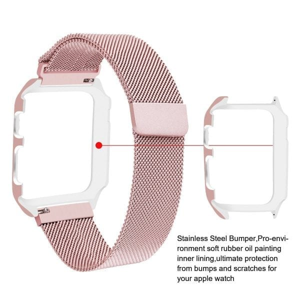 2 in 1 vervangend Apple Watch Band Milanese Loop rose rose goud en cover-008