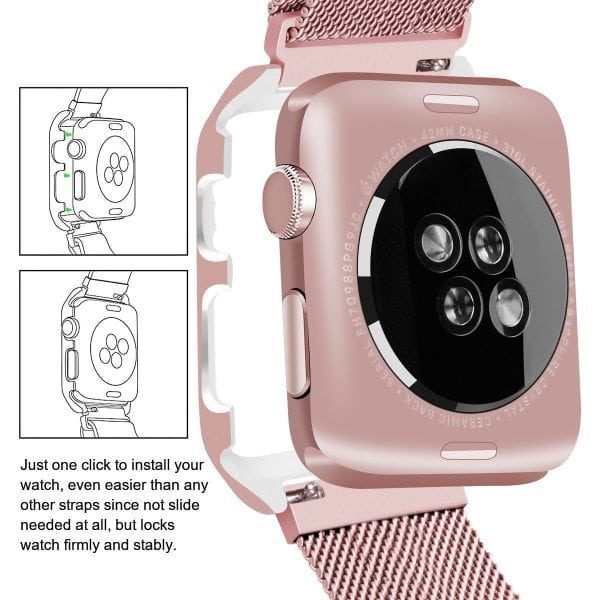 2 in 1 vervangend Apple Watch Band Milanese Loop rose rose goud en cover-009
