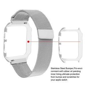 2 in 1 vervangend Apple Watch Band Milanese Loop zilver en cover roestvrij staal vervangende band voor iWatch-002