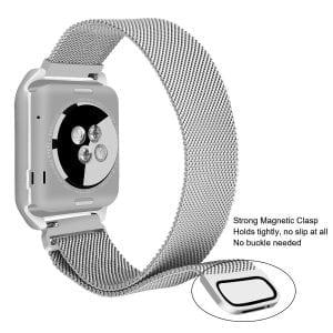 2 in 1 vervangend Apple Watch Band Milanese Loop zilver en cover roestvrij staal vervangende band voor iWatch-005