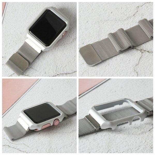 2 in 1 vervangend Apple Watch Band Milanese Loop zilver en cover roestvrij staal vervangende band voor iWatch-006