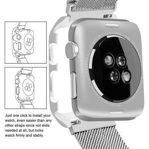 2 in 1 vervangend Apple Watch Band Milanese Loop zilver en cover roestvrij staal vervangende band voor iWatch-007
