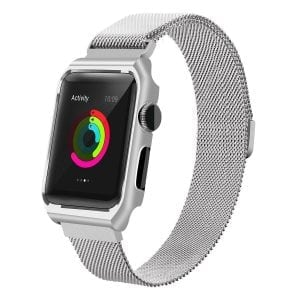 2 in 1 vervangend Apple Watch Band Milanese Loop zilver en cover roestvrij staal vervangende band voor iWatch-008