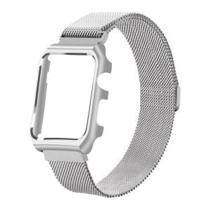 2 in 1 vervangend Apple Watch Band Milanese Loop zilver en cover roestvrij staal vervangende band voor iWatch-009