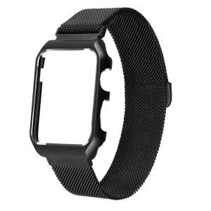 2 in 1 vervangend Apple Watch Band Milanese Loop zwart en cover roestvrij staal vervangende band voor iWatch 38mm-006