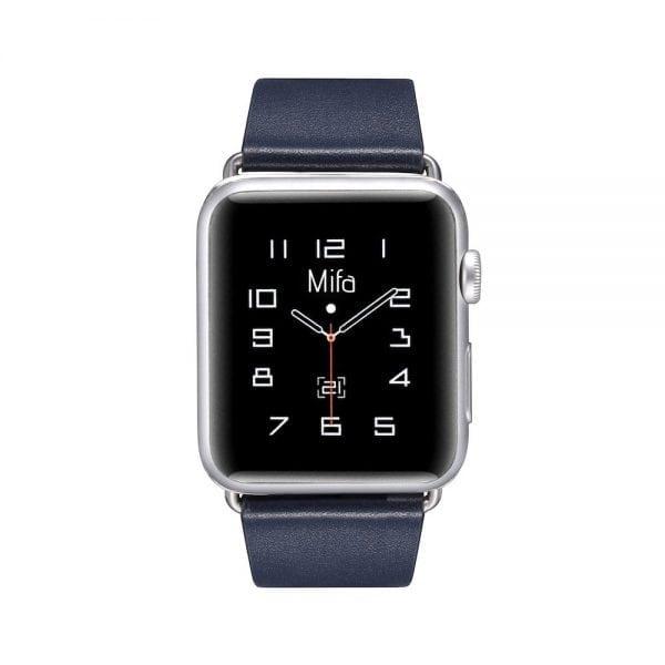 Luxe Classic Lederen armband voor de Apple Watch blauw-001