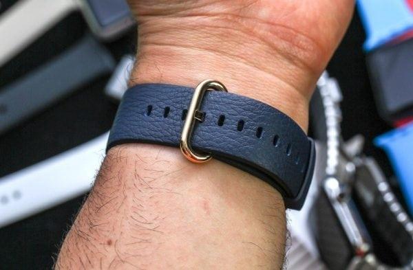 Luxe Classic Lederen armband voor de Apple Watch blauw-005