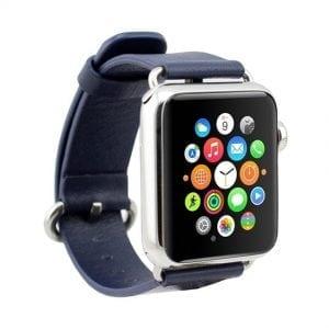 Luxe Classic Lederen armband voor de Apple Watch blauw-008