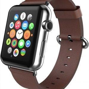 Luxe Classic Lederen armband voor de Apple Watch bruin-002